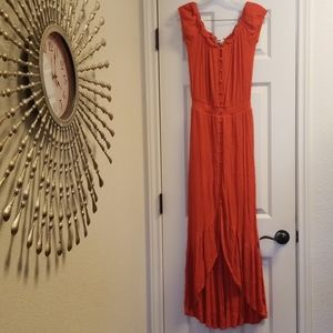 Charmed Hearts orange boho maxi dress